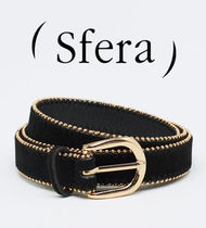 Sfera Faux Fur Studded Plain Office Style Belts