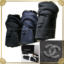 CHANEL Cashmere Plain Heavy Scarves & Shawls