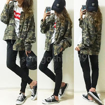 Camouflage Unisex Denim Street Style Plain Denim Jackets
