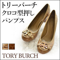 Tory Burch Round Toe Casual Style Leather Block Heels