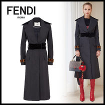 FENDI Monogram Blended Fabrics Plain Long Elegant Style