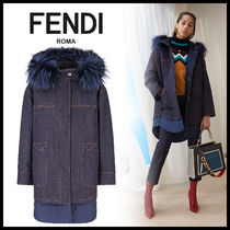 FENDI Heart Denim Long Sleeves Plain Hoodies & Sweatshirts