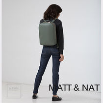 MATT&NAT Casual Style Unisex Faux Fur A4 Plain Oversized Backpacks