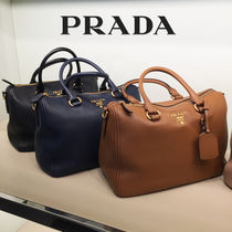 PRADA 2WAY Plain Leather Elegant Style Totes