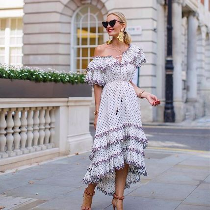 Dots Casual Style Linen Street Style Long Dresses