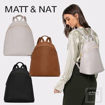 MATT&NAT Casual Style Plain PVC Clothing Elegant Style Backpacks