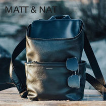 MATT&NAT Casual Style Faux Fur A4 Plain Office Style Khaki Backpacks