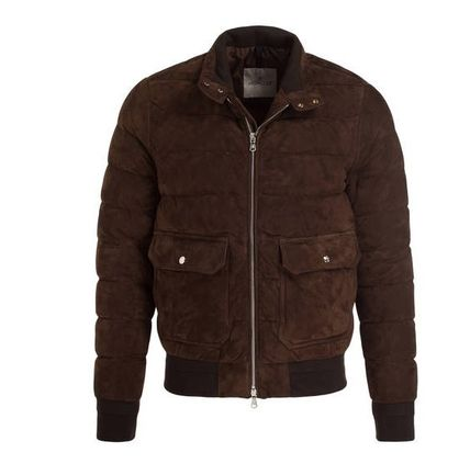 MONCLER GIBRAN 2018-19AW Short Plain Leather MA-1 Bomber Jackets by ... 2f052f6535e