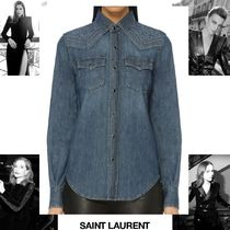 Saint Laurent Long Sleeves Plain Cotton Elegant Style Shirts & Blouses