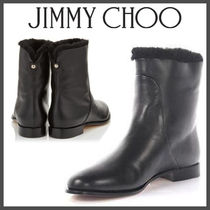 Jimmy Choo Plain Toe Plain Leather Block Heels Ankle & Booties Boots