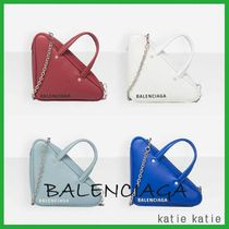 BALENCIAGA Street Style 2WAY Chain Plain Leather Party Style Totes