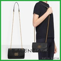 BALENCIAGA Chain Plain Leather Party Style Shoulder Bags
