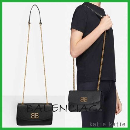 Chain Plain Leather Party Style Shoulder Bags