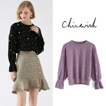 Chicwish Casual Style Long Sleeves Plain With Jewels Sweaters