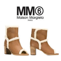Maison Martin Margiela Open Toe Casual Style Plain Leather Block Heels
