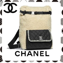 CHANEL Blended Fabrics A4 Chain Plain Elegant Style Backpacks