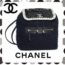 CHANEL Calfskin Blended Fabrics Chain Plain Elegant Style Backpacks