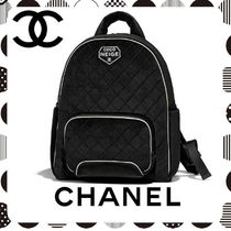 CHANEL Casual Style Unisex Street Style A4 Plain Backpacks
