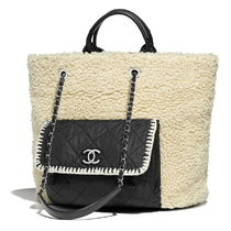 CHANEL Calfskin Blended Fabrics A4 Chain Plain Totes