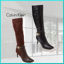 Calvin Klein Plain Leather Pin Heels Elegant Style Over-the-Knee Boots
