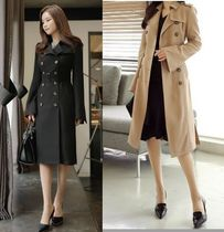 CHICLINE Plain Long Elegant Style Trench Coats