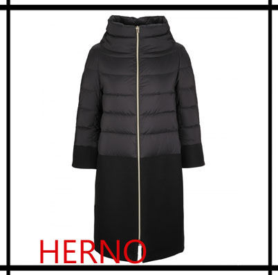 Wool Blended Fabrics Plain Long Down Jackets