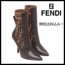 FENDI Monogram Blended Fabrics Plain Leather Pin Heels