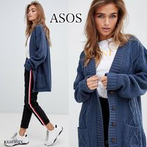 ASOS Cable Knit Casual Style V-Neck Long Sleeves Plain Long