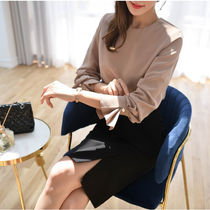Long Sleeves Plain Medium Elegant Style Khaki