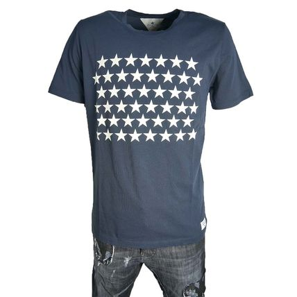Star Street Style U-Neck Plain Cotton Short Sleeves T-Shirts