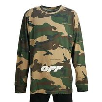 Off-White Camouflage Street Style U-Neck Long Sleeves Cotton