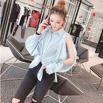 Casual Style Denim Long Sleeves Plain Shirts & Blouses