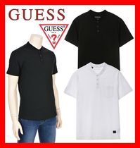 Guess Henry Neck Street Style Cotton Short Sleeves Henley T-Shirts