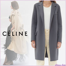CELINE Cashmere Plain Medium Elegant Style Wrap Coats