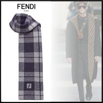 FENDI Glen Patterns Wool Scarves