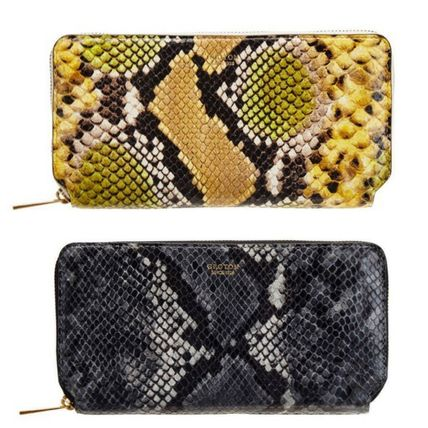Unisex Leather Python Long Wallets