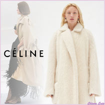 CELINE Casual Style Plain Long Angola Oversized Wrap Coats