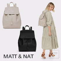 MATT&NAT Casual Style Faux Fur Plain Purses Office Style Backpacks