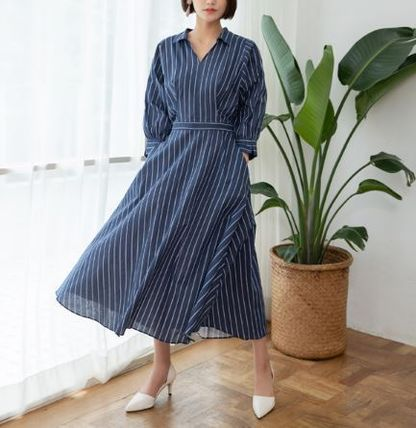 Stripes Casual Style Flared V-Neck Long Sleeves Cotton Long