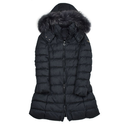 Wool Plain Long Down Jackets