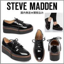 Steve Madden Platform Round Toe Lace-up Enamel Plain Slip-On Shoes