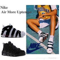 Nike AIR MORE UPTEMPO Street Style Bi-color Plain Leather Sneakers