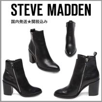 Steve Madden Casual Style Plain Leather Chunky Heels High Heel Boots