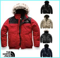 THE NORTH FACE Camouflage Faux Fur Street Style Plain Khaki Down Jackets