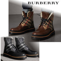 Burberry Other Check Patterns Plain Toe Blended Fabrics Leather