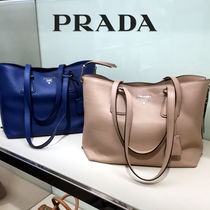 PRADA A4 Plain Leather Office Style Totes