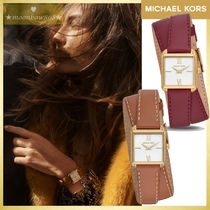 Michael Kors Leather Square Quartz Watches Analog Watches