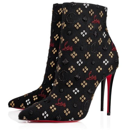 Christian Louboutin Ankle & Booties Monogram Blended Fabrics Leather Pin Heels Elegant Style 3