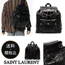 Saint Laurent Lambskin A4 Plain Backpacks