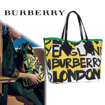 Burberry Casual Style Unisex A4 Totes
